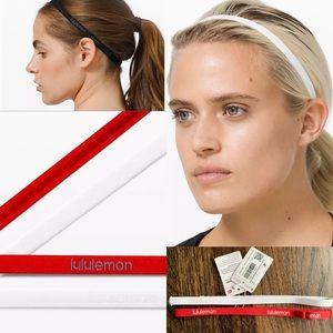 Lululemon lot bundle duo headband red white NWT